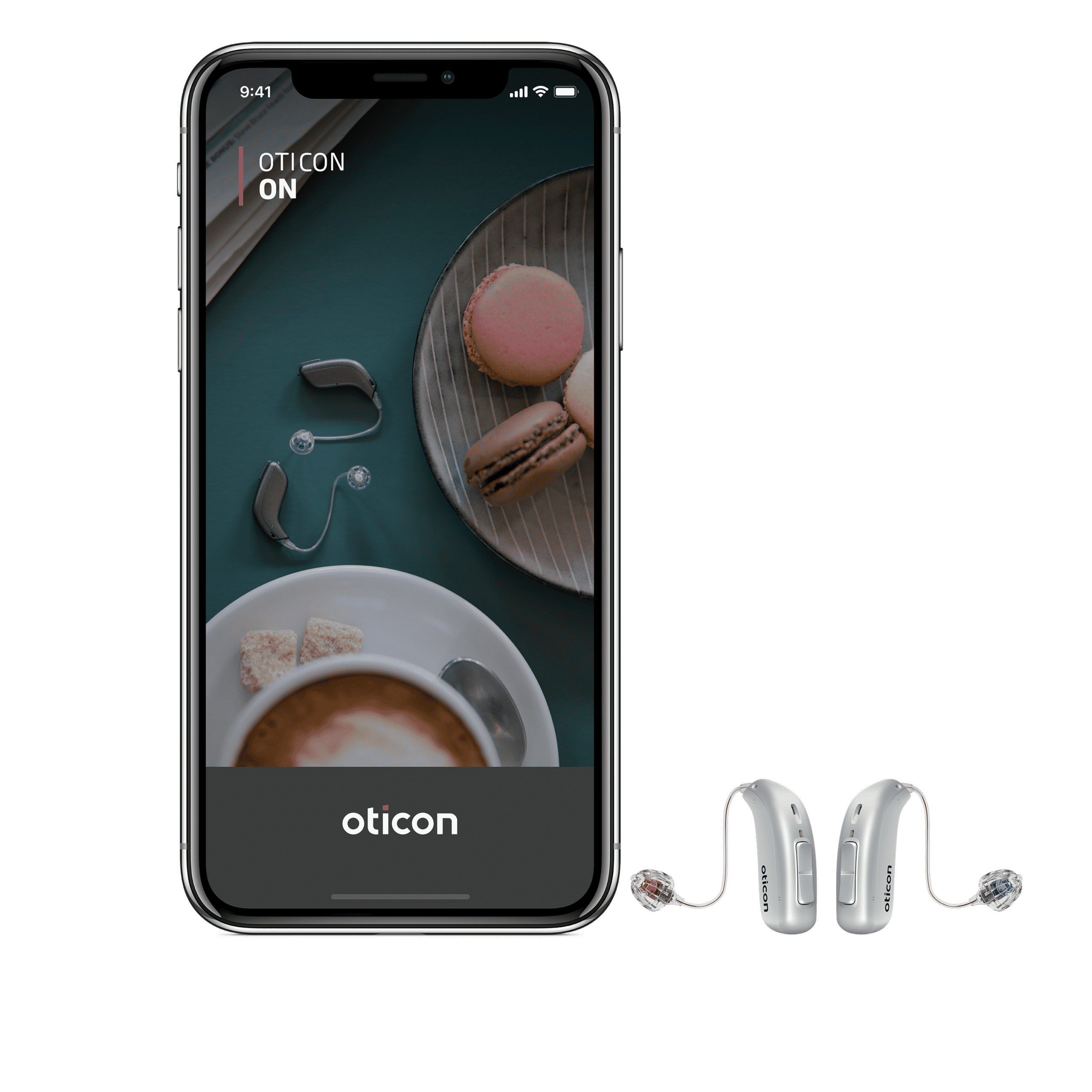 The Oticon More smart hearing aid next to a smart phone
